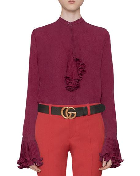 Gucci Silk Button Down Shirt Stretch Wool Slim Pant