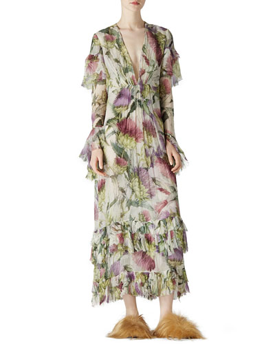 Thistles & Birds Print Silk Dress