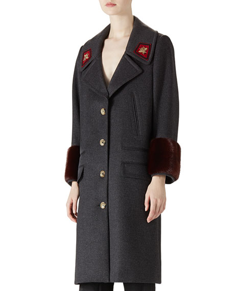 Gucci Wool & Mink Overcoat
