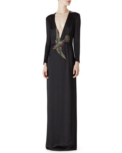 Satin Bird Embroidered Dress