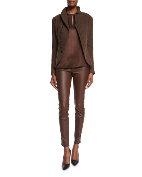 Stretch-Leather Skinny Pants, Chestnut Brown