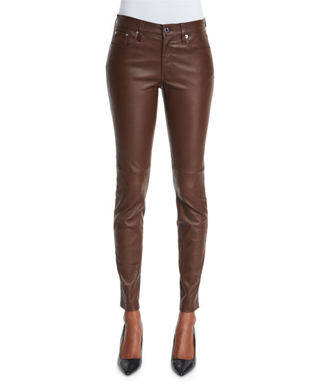 Ralph Lauren Black Label Stretch-Leather Skinny Pants, Chestnut