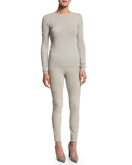 Abbey Skinny Suede Pants, Pebble Gray