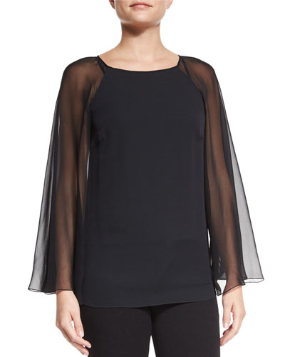Winslet Illusion-Cape Top, Black