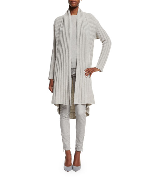 Ralph Lauren Black LabelOpen-Front Cashmere Cardigan, Light Gray