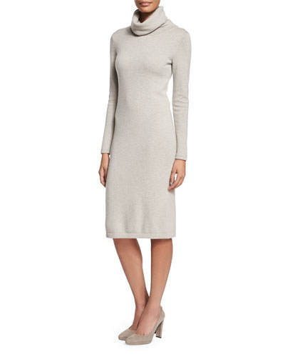 Long-Sleeve Cashmere Sweaterdress, Light Gray Melange