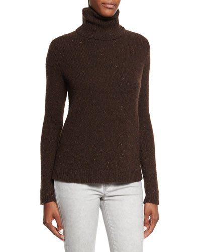 Easy Turtleneck Cashmere Sweater, Chocolate Donegal