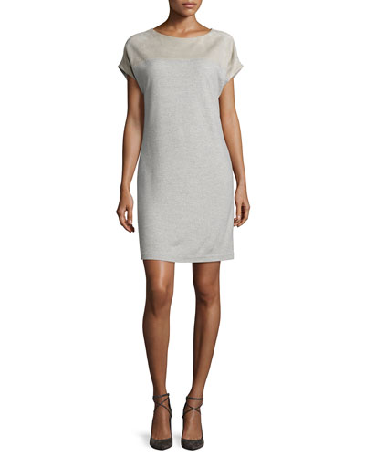 Cap-Sleeve Combo Shift Dress, Light Gray Melange