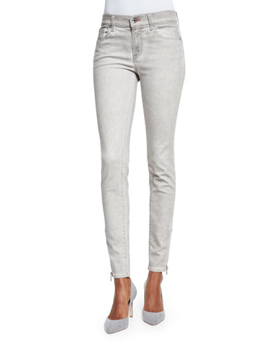 Mid-Rise Matchstick Jeans, Smoke Gray
