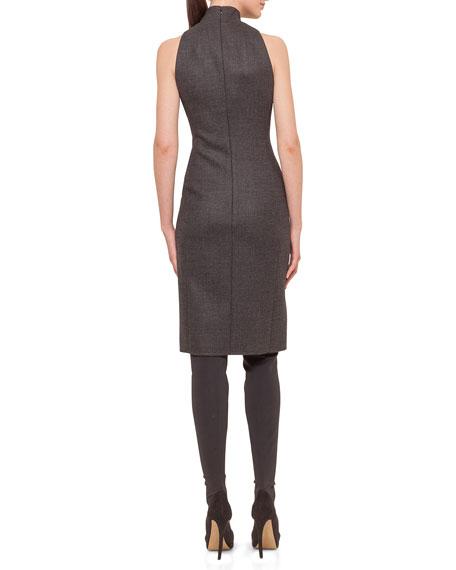 Glen Plaid Zip-Front Sheath Dress