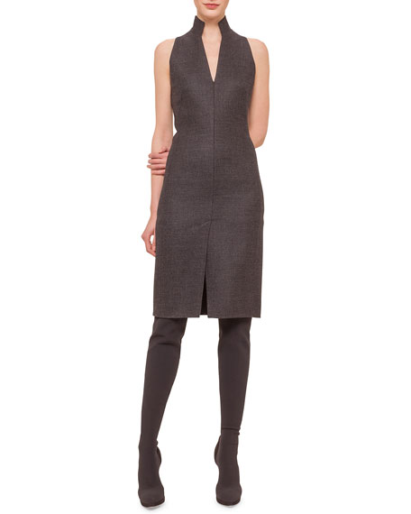Akris Glen Plaid Zip-Front Sheath Dress