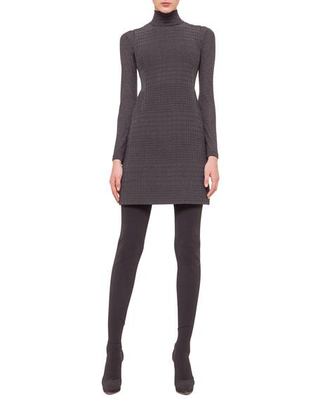 Akris Sleeveless Jewel-Neck Cross-Stitch Dress, Granite