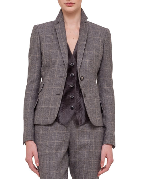 Akris Fine Windowpane Check Cashmere-Blend Blazer