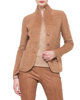 Long-Sleeve Button-Front Cashmere Jacket, Roggen/Birke