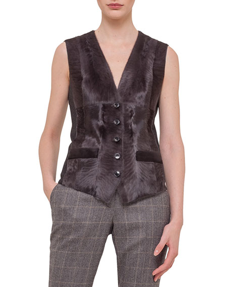 Akris Sleeveless Button-Down Fur Combo Gilet, Granite
