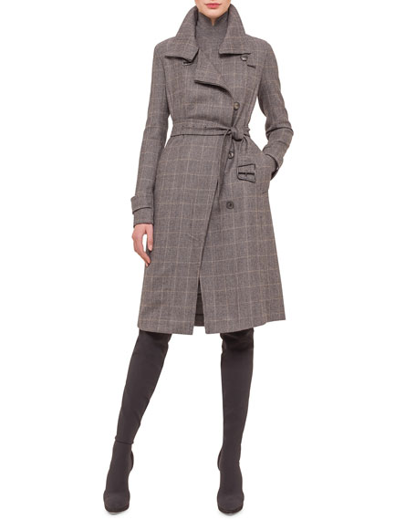 AkrisLong-Sleeve Check Trenchcoat, Granite