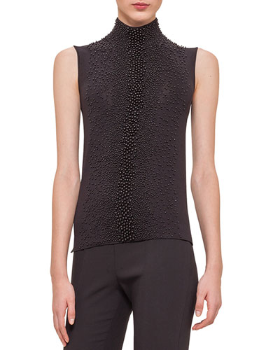Bead-Embroidered Mock-Neck Top