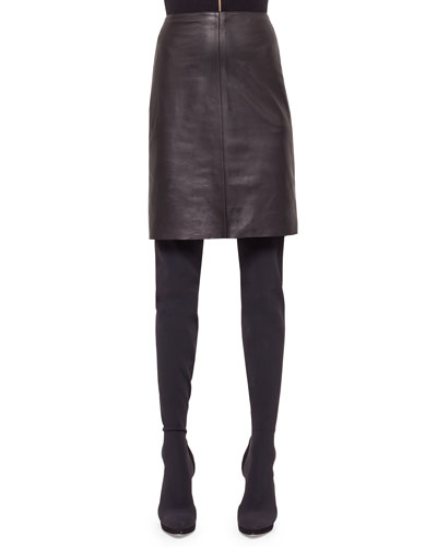 Napa Leather Pencil Skirt, Black