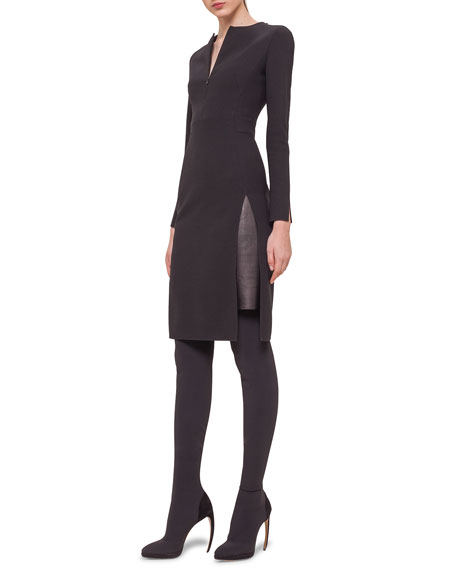 Akris Double-Faced Leather-Inset Sheath Dress