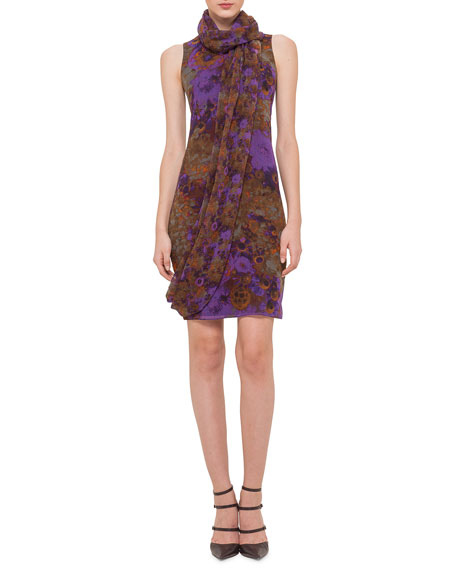 Akris Sleeveless Dress W/Detachable Scarf, Multi Colors