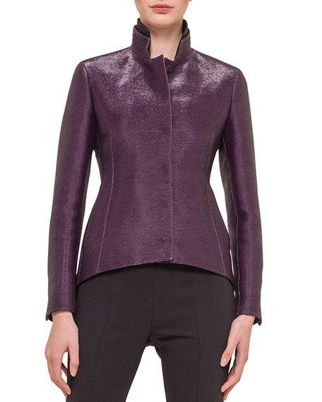 Akris Metallic Stand-Collar Arched Jacket