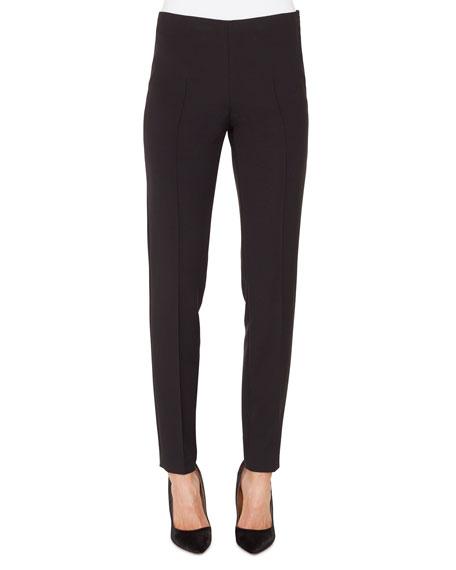 Melissa Silk-Satin Stretch Pants, Black