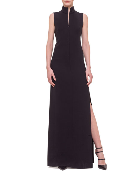 Akris Sleeveless Fringe-Back Gown, Black