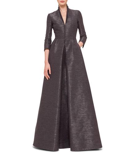 3/4-Sleeve Coat-Style Gown, Granite
