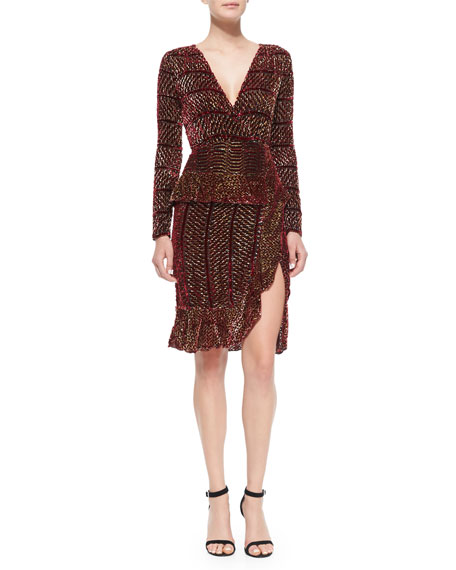 Altuzarra Paneled Velvet Devore Peplum Dress