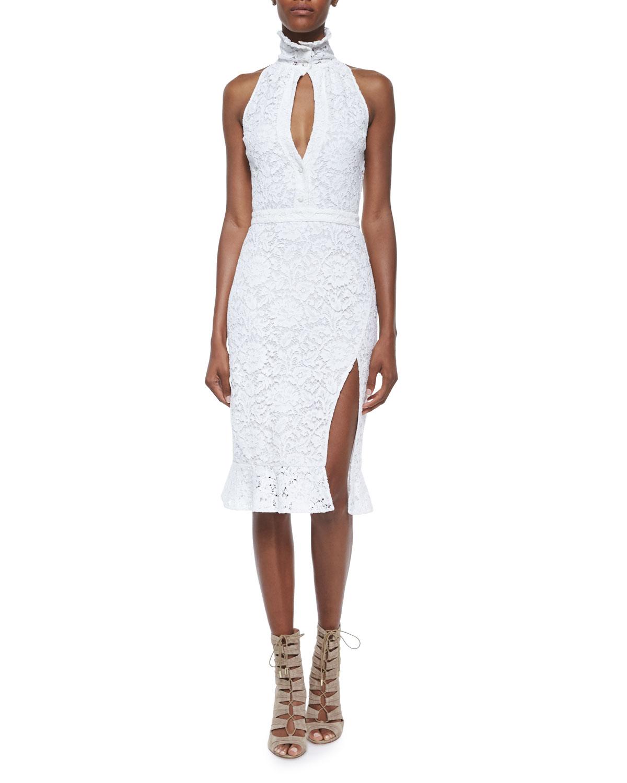 e3ef9ef7 Altuzarra Lace Slit Ruffle-Collar Sheath Dress | Neiman Marcus