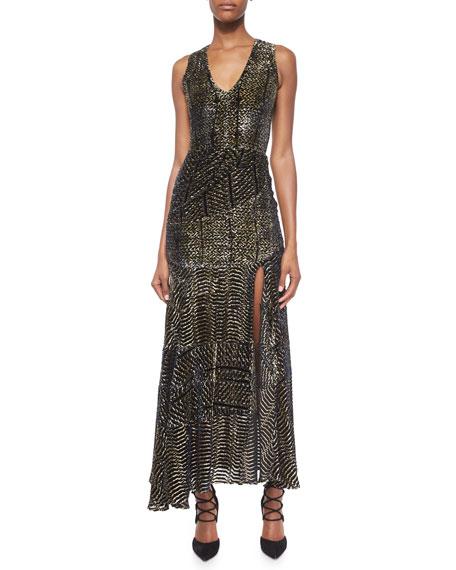 Altuzarra Asymmetric Ruched Velvet Devore Dress