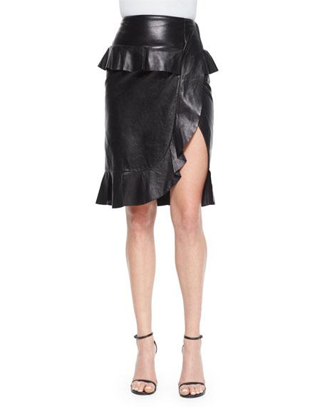 Altuzarra Leather Ruffle Peplum Slit Skirt