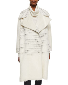 Ombre Striped Woven Overcoat