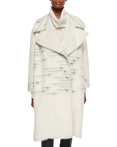 Ombre Striped Shaggy Woven Overcoat
