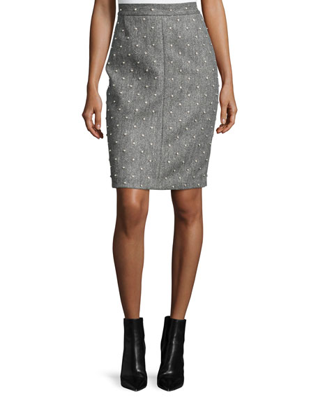 Adam Lippes Pearly Studded Pencil Skirt