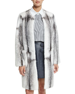 Mink Fur Long Coat, Black/White