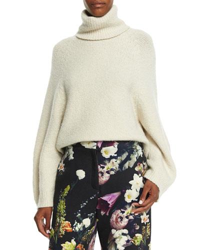 Lantern-Sleeve Turtleneck Sweater, Ivory