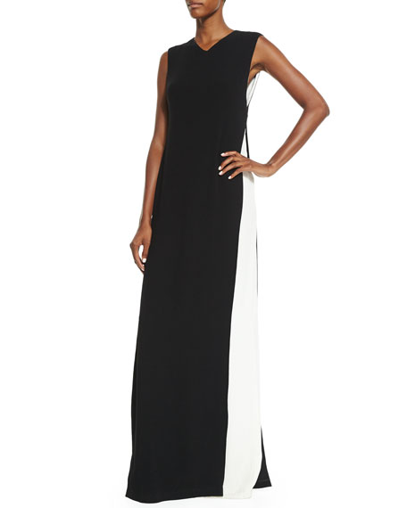 Adam Lippes Sleeveless Colorblock Cape Gown, Black/Ivory