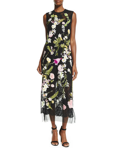 Sleeveless Floral-Embroidered Midi Dress, Black Multi