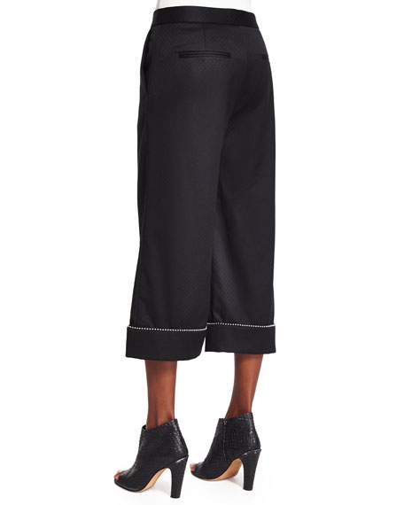 Ball & Chain Cuff Wide-Leg Cropped Pants, Black