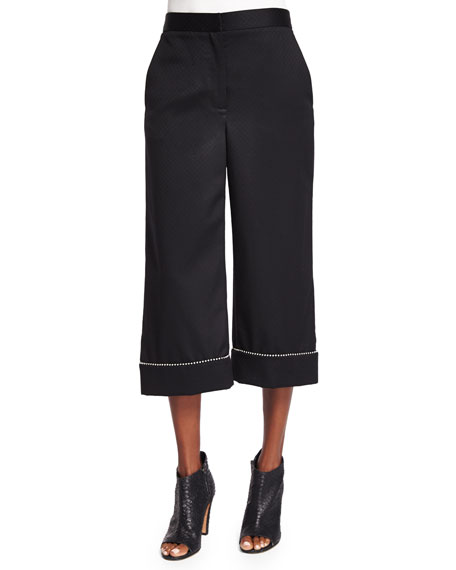 Alexander Wang Ball & Chain Cuff Wide-Leg Cropped
