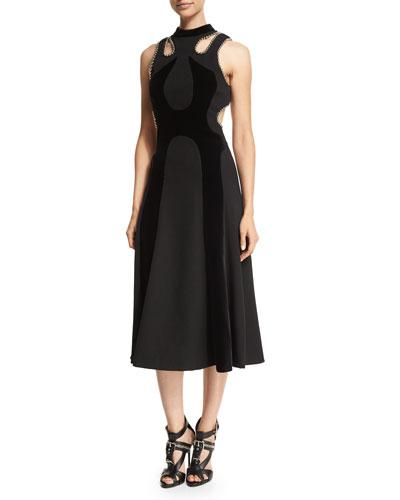 Ball & Chain Trim Sleeveless Dress, Black