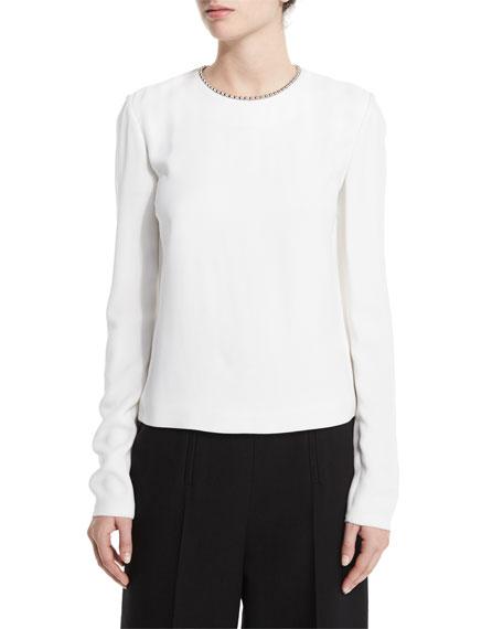 Long-Sleeve Blouse W/Ball-&-Chain Trim, Sterile/White