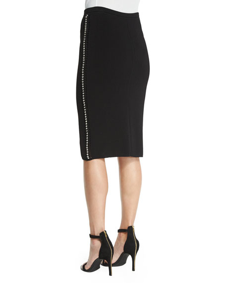Pencil Skirt W/Embellished Outseam, Black