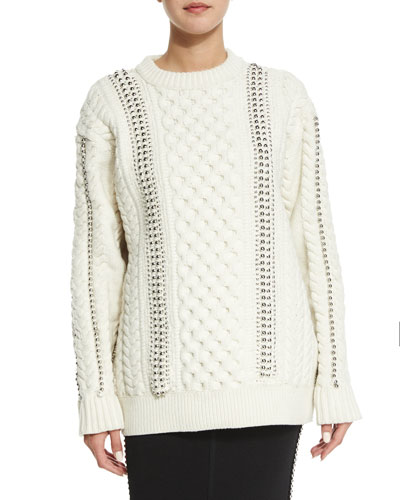 Embellished Cable-Knit Sweater, Aspen/Ivory