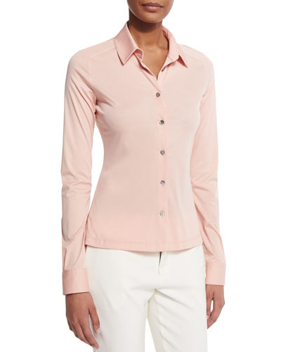 Fitted Stretch Jersey Blouse