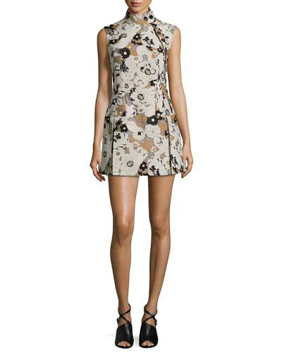 Floral Brocade Side-Button Drop-Waist Dress