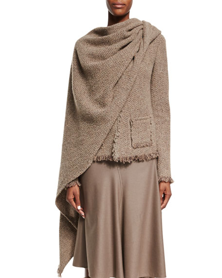 Ralph Lauren Collection Fringe-Trim Jacket W/Scarf, Taupe Multi