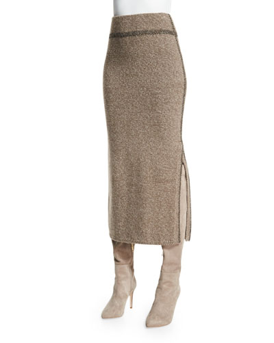 Contrast-Seam Cashmere Midi Skirt, Truffle