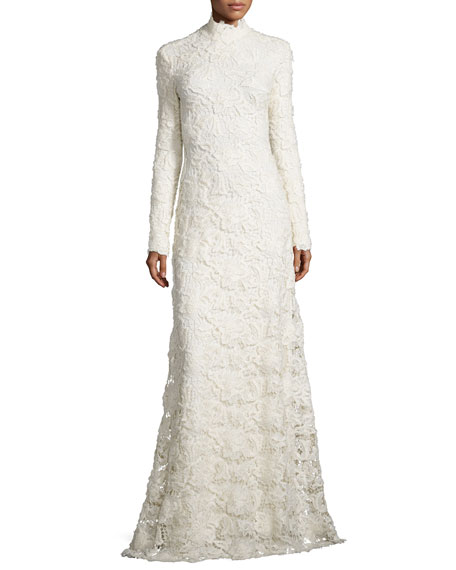 Long-Sleeve Mock-Neck Lace Gown, Cream